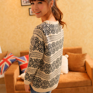 Retro snowflake pullover loose knit..