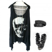 Leisure skull fringed vest t-shirt
