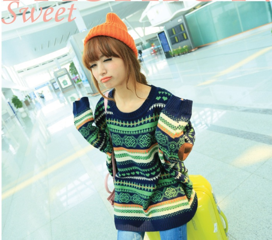 Retro hit color striped geometric pattern loose sweater coat