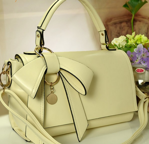 perfect dimensional bow handbag white