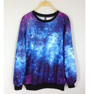 Chic Women's Galaxy Space Starry Print long Sleeve Top Round T Shirt Jumper Top