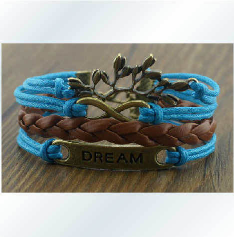 The dream romantic bronze password branches hand-knitted leather cord three bracelets