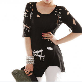 Irregular pin hole short-sleeved cotton T-shirt