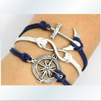 Ancient silver anchor compass romantic password multilayer wax rope bracelet